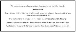 Traueranzeige Anne Schauer
